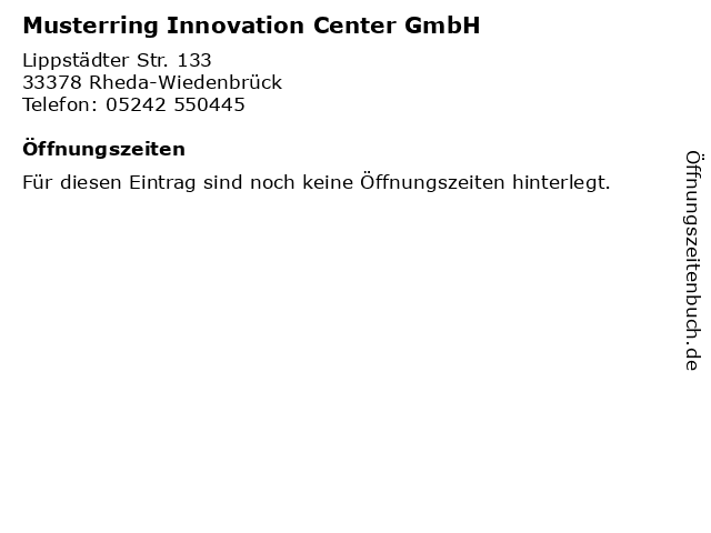 ᐅ öffnungszeiten Musterring Innovation Center Gmbh Lippstädter
