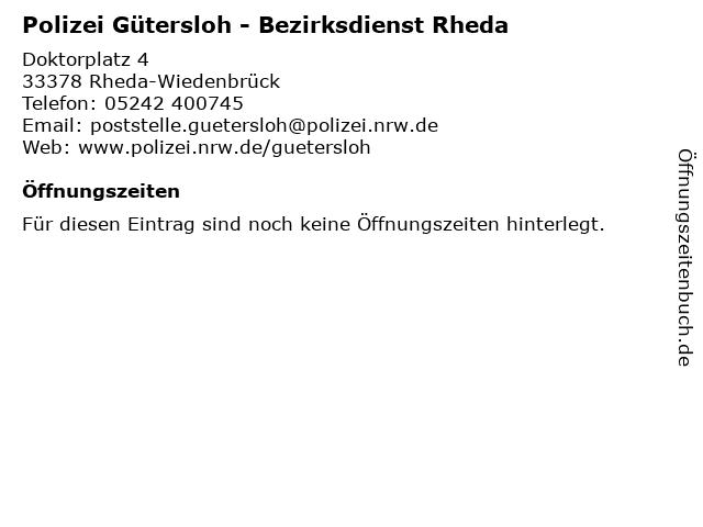 Polizei Gütersloh - Bezirksdienst Rheda in Rheda-Wiedenbrück: Adresse und Öffnungszeiten