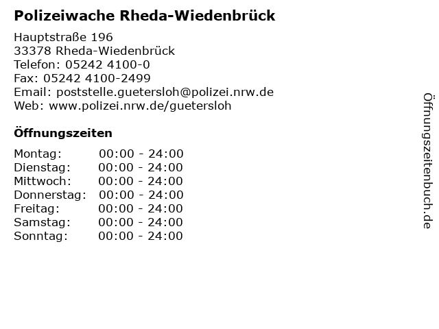 Polizeiwache Rheda-Wiedenbrück in Rheda-Wiedenbrück: Adresse und Öffnungszeiten