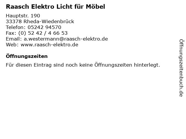 Raasch Elektro Licht für Möbel in Rheda-Wiedenbrück: Adresse und Öffnungszeiten