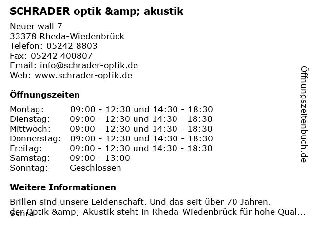 Schrader Optik & Akustik in Rheda-Wiedenbrück: Adresse und Öffnungszeiten