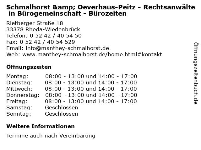 Schmalhorst & Oeverhaus-Peitz - Rechtsanwälte in Bürogemeinschaft - Bürozeiten in Rheda-Wiedenbrück: Adresse und Öffnungszeiten
