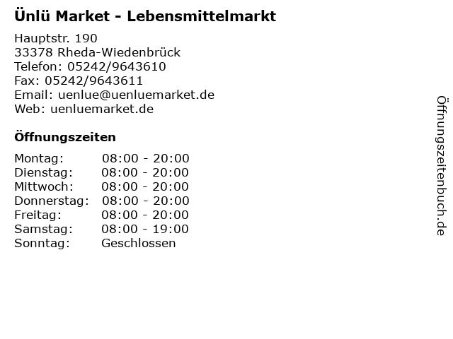 Ünlü Market - Lebensmittelmarkt in Rheda-Wiedenbrück: Adresse und Öffnungszeiten