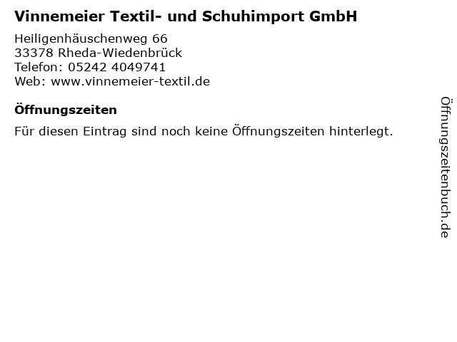 Vinnemeier Textil- und Schuhimport GmbH in Rheda-Wiedenbrück: Adresse und Öffnungszeiten