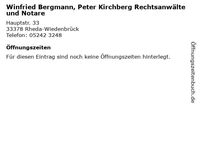 Winfried Bergmann, Peter Kirchberg Rechtsanwälte und Notare in Rheda-Wiedenbrück: Adresse und Öffnungszeiten