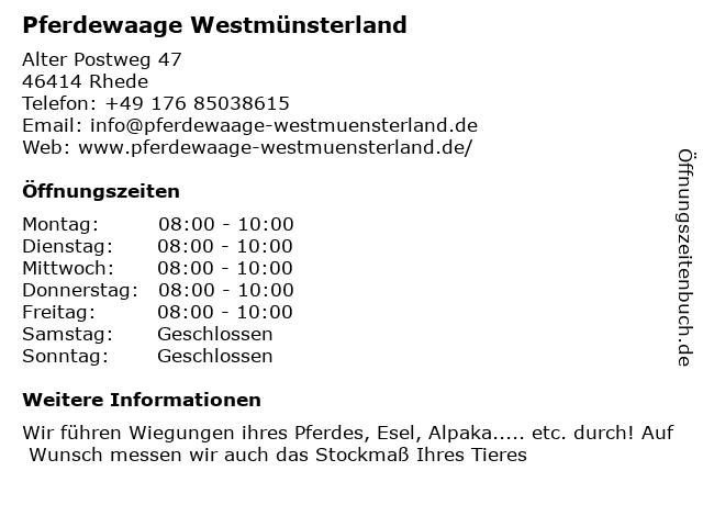 Pferdewaage Westmünsterland in Rhede: Adresse und Öffnungszeiten