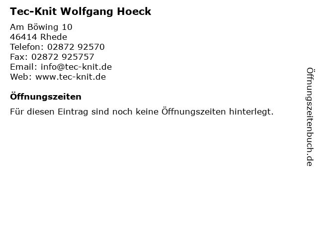 Tec-Knit Wolfgang Hoeck in Rhede: Adresse und Öffnungszeiten