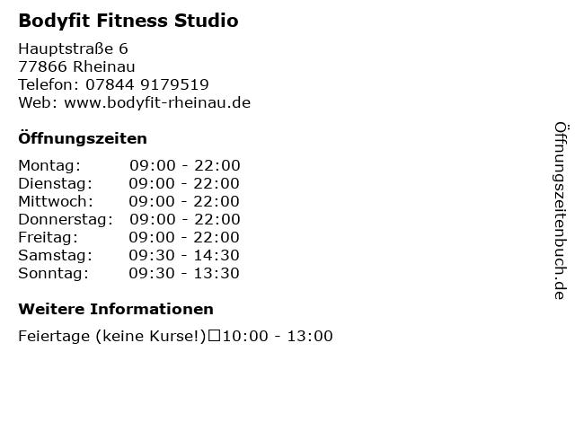 Bodyfit Fitness Studio in Rheinau: Adresse und Öffnungszeiten