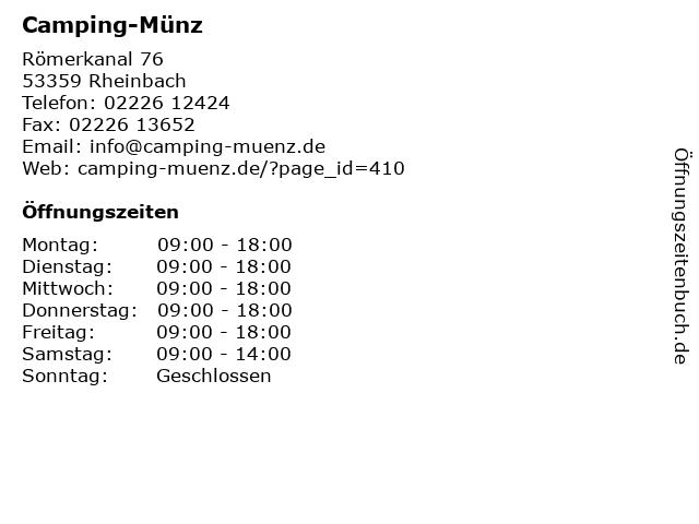 ᐅ öffnungszeiten Camping Münz 1 September Bis 30 April