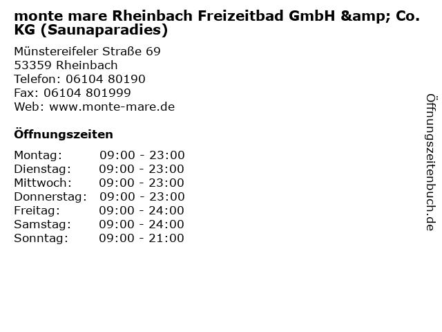 ᐅ öffnungszeiten Monte Mare Rheinbach Freizeitbad Gmbh Co Kg