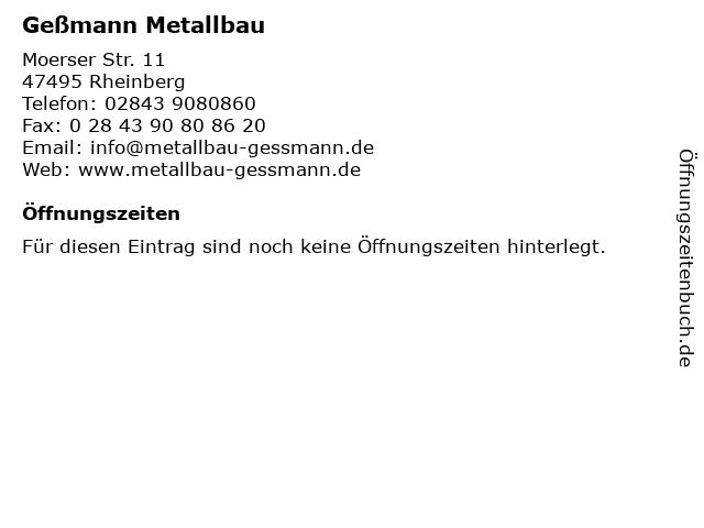 Geßmann Metallbau in Rheinberg: Adresse und Öffnungszeiten