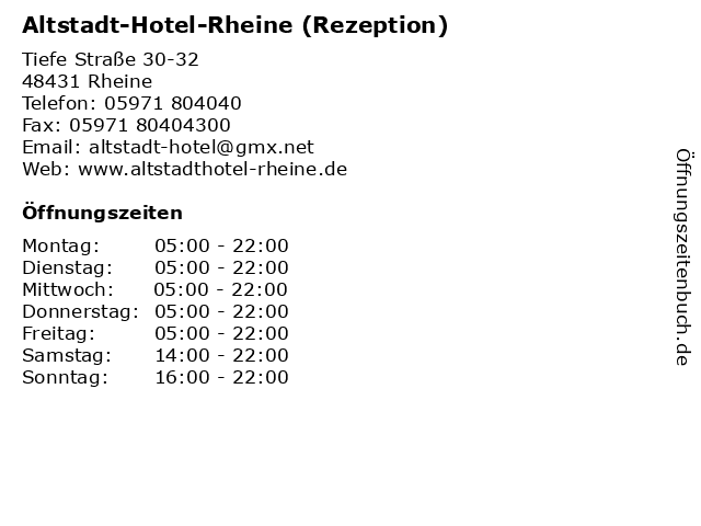 Altstadt-Hotel-Rheine (Rezeption) in Rheine: Adresse und Öffnungszeiten