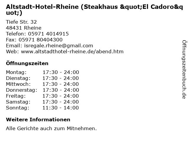 """Altstadt-Hotel-Rheine (Steakhaus """"El Cadoro"""") in Rheine: Adresse und Öffnungszeiten"""