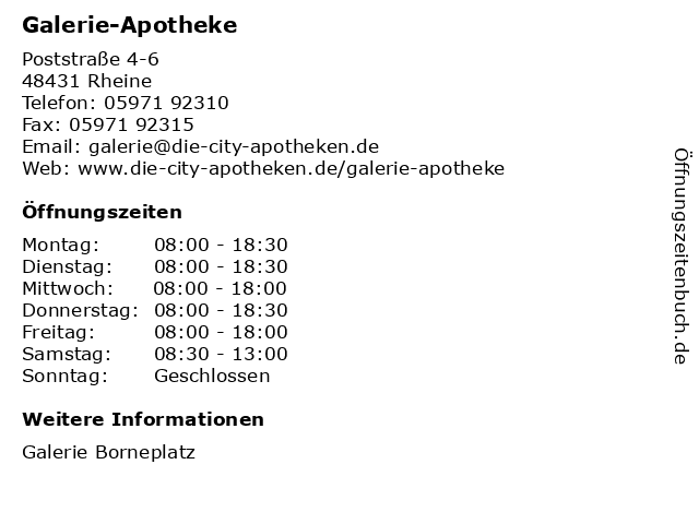 Galerie-Apotheke in Rheine: Adresse und Öffnungszeiten