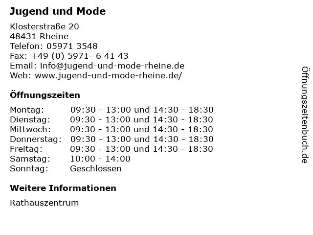 Jugend und Mode in Rheine: Adresse und Öffnungszeiten