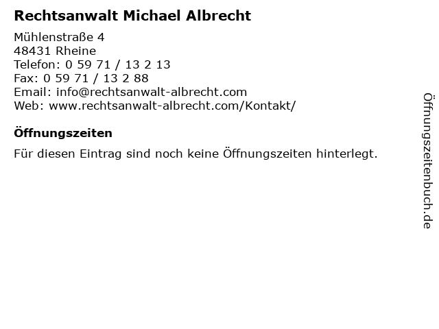 Rechtsanwalt Michael Albrecht in Rheine: Adresse und Öffnungszeiten