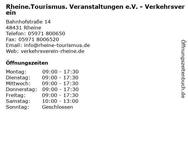 Rheine.Tourismus. Veranstaltungen e.V. - Verkehrsverein in Rheine: Adresse und Öffnungszeiten