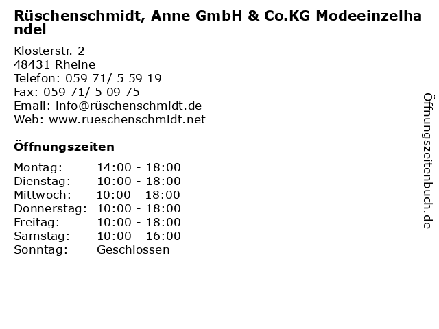 Rüschenschmidt, Anne GmbH & Co.KG Modeeinzelhandel in Rheine: Adresse und Öffnungszeiten