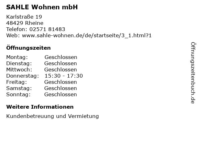 SAHLE Wohnen mbH in Rheine: Adresse und Öffnungszeiten