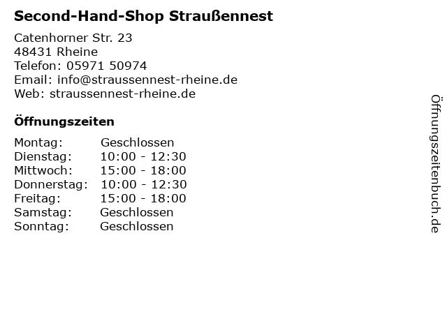 Second-Hand-Shop Straußennest in Rheine: Adresse und Öffnungszeiten