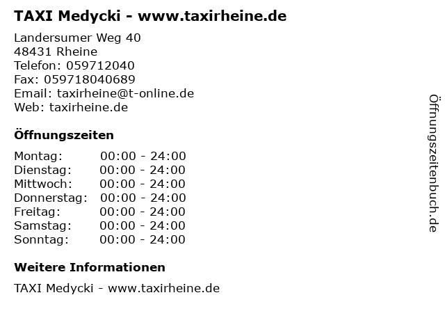 TAXI Medycki - www.taxirheine.de in Rheine: Adresse und Öffnungszeiten