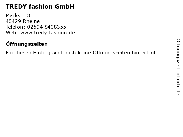 TREDY fashion GmbH in Rheine: Adresse und Öffnungszeiten