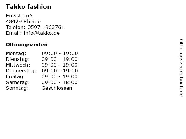 Takko fashion in Rheine: Adresse und Öffnungszeiten