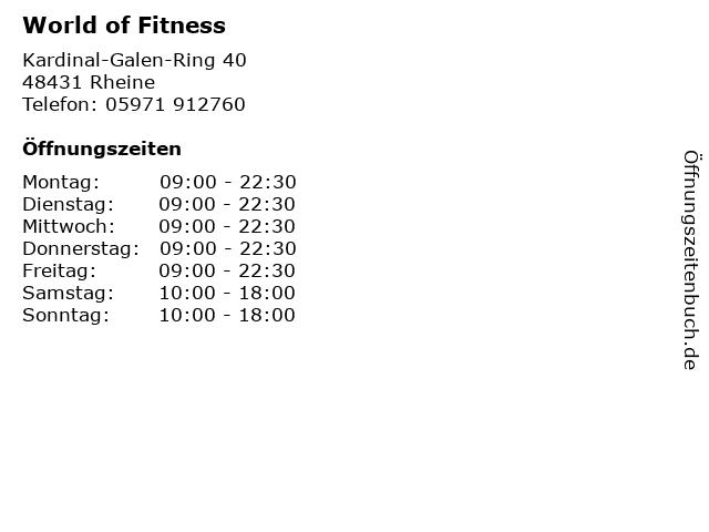 World of Fitness in Rheine: Adresse und Öffnungszeiten