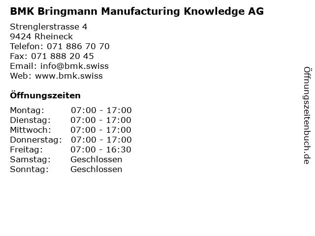 BMK Bodensee Metall AG in Rheineck: Adresse und Öffnungszeiten