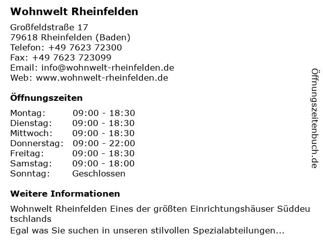 ᐅ öffnungszeiten Wohnwelt Rheinfelden Großfeldstraße 17 In