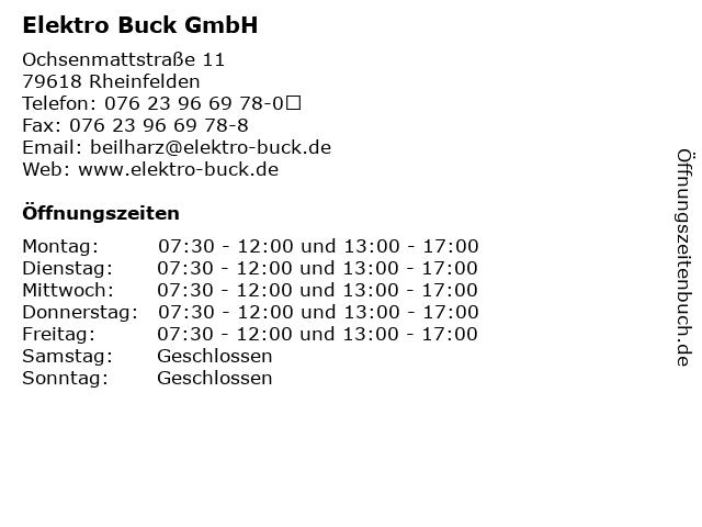 Elektro Buck GmbH in Rheinfelden: Adresse und Öffnungszeiten