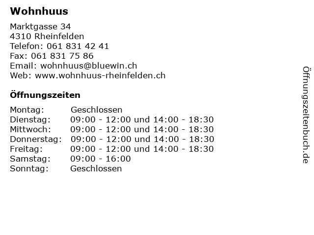 ᐅ öffnungszeiten Wohnhuus Marktgasse 34 In Rheinfelden