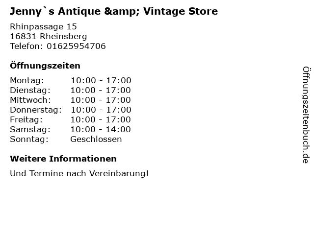 Jenny`s Antique & Vintage Store in Rheinsberg: Adresse und Öffnungszeiten