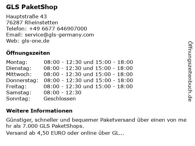 GLS PaketShop in Rheinstetten: Adresse und Öffnungszeiten