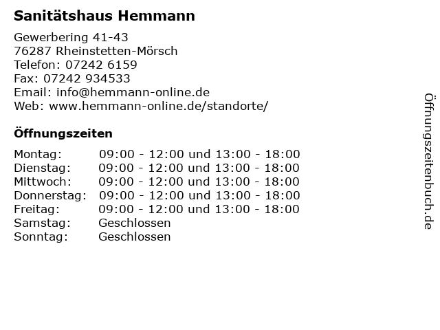 Sanitätshaus Hemmann in Rheinstetten-Mörsch: Adresse und Öffnungszeiten
