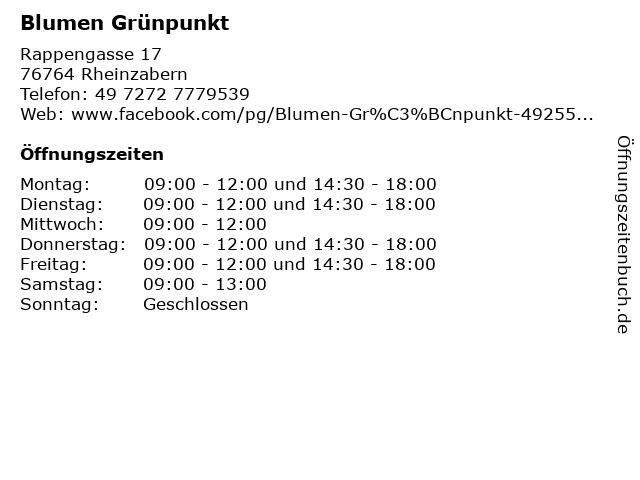 Blumen Grünpunkt in Rheinzabern: Adresse und Öffnungszeiten