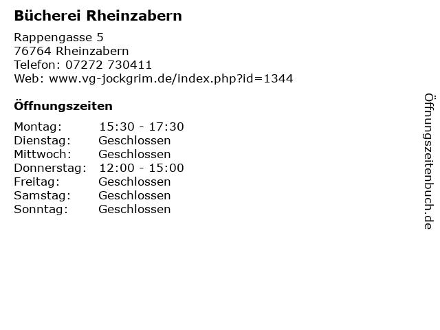 Bücherei Rheinzabern in Rheinzabern: Adresse und Öffnungszeiten