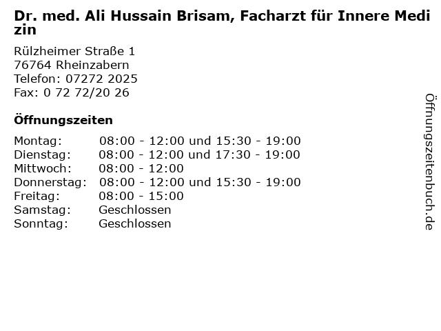 Dr. med. Ali Hussain Brisam, Facharzt für Innere Medizin in Rheinzabern: Adresse und Öffnungszeiten