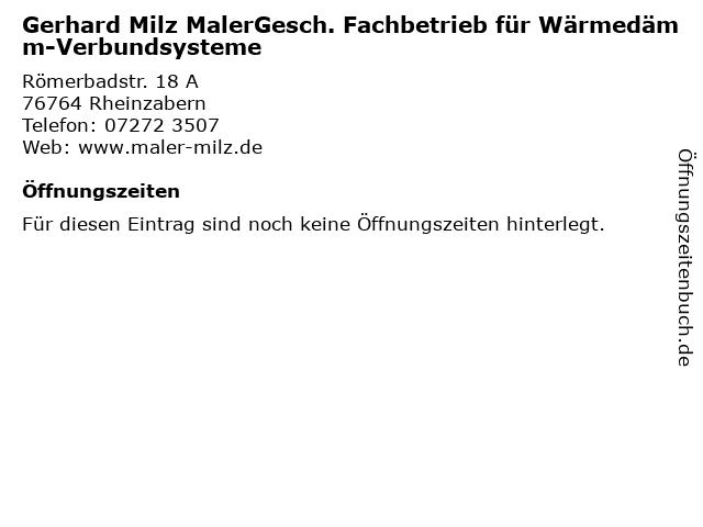 Gerhard Milz MalerGesch. Fachbetrieb für Wärmedämm-Verbundsysteme in Rheinzabern: Adresse und Öffnungszeiten