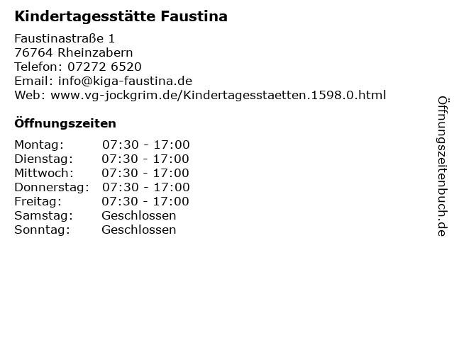Kindertagesstätte Faustina in Rheinzabern: Adresse und Öffnungszeiten
