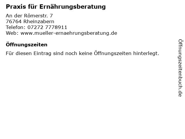 Praxis für Ernährungsberatung in Rheinzabern: Adresse und Öffnungszeiten