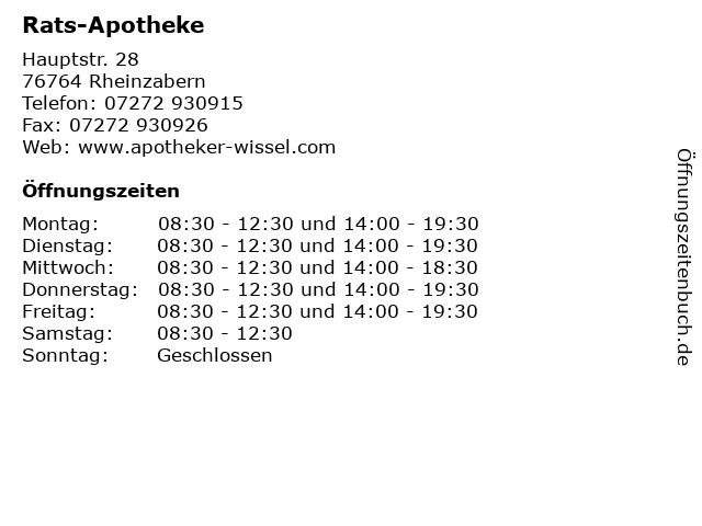 Rats-Apotheke in Rheinzabern: Adresse und Öffnungszeiten