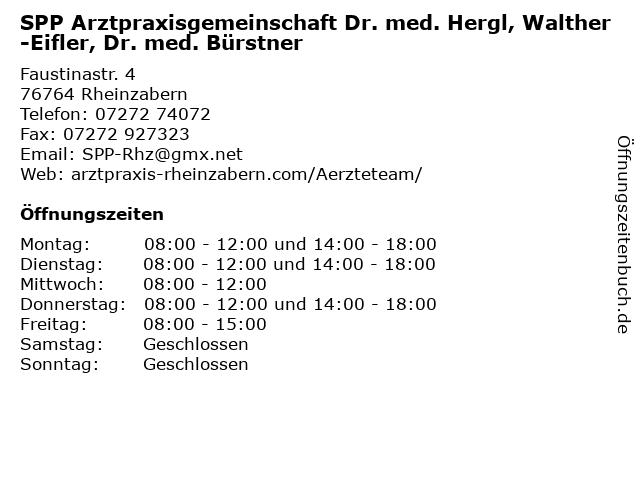 SPP Arztpraxisgemeinschaft Dr. med. Hergl, Walther-Eifler, Dr. med. Bürstner in Rheinzabern: Adresse und Öffnungszeiten