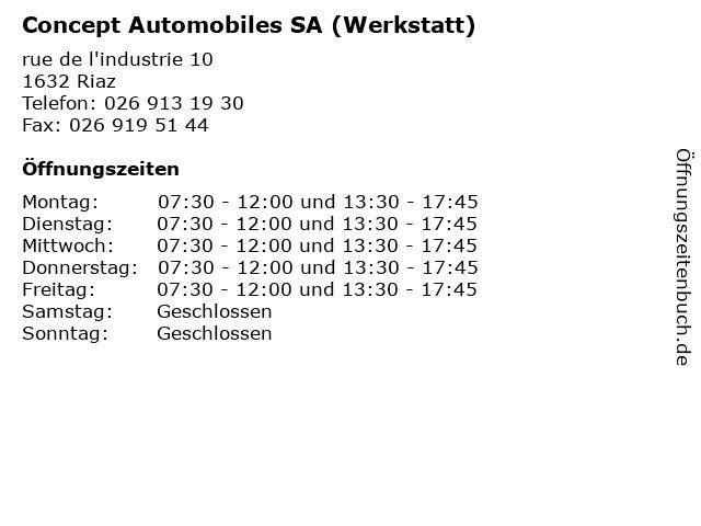 Concept Automobiles SA (Werkstatt) in Riaz: Adresse und Öffnungszeiten