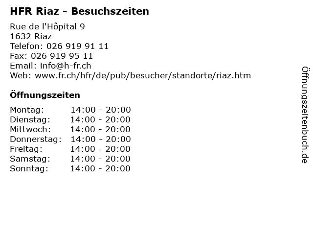 HFR Riaz - Besuchszeiten in Riaz: Adresse und Öffnungszeiten