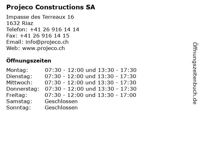 Projeco Constructions SA in Riaz: Adresse und Öffnungszeiten