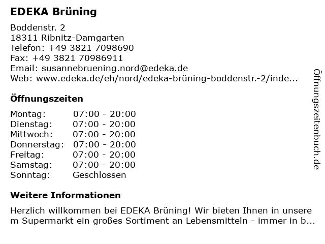 EDEKA Brüning in Ribnitz-Damgarten: Adresse und Öffnungszeiten