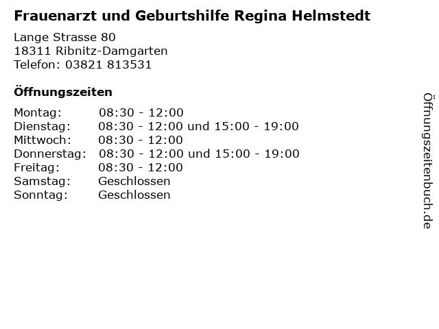 Frauenarzt und Geburtshilfe Regina Helmstedt in Ribnitz-Damgarten: Adresse und Öffnungszeiten