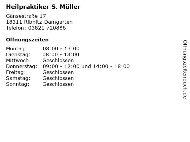 Heilpraktiker S. Müller in Ribnitz-Damgarten: Adresse und Öffnungszeiten