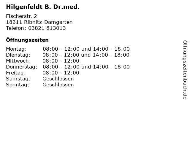 Hilgenfeldt B. Dr.med. in Ribnitz-Damgarten: Adresse und Öffnungszeiten
